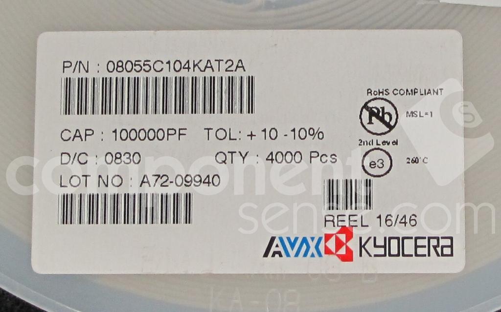 08055C104KAT2A AVX Kyocera Corporation, AVX Corporation, Unknown
